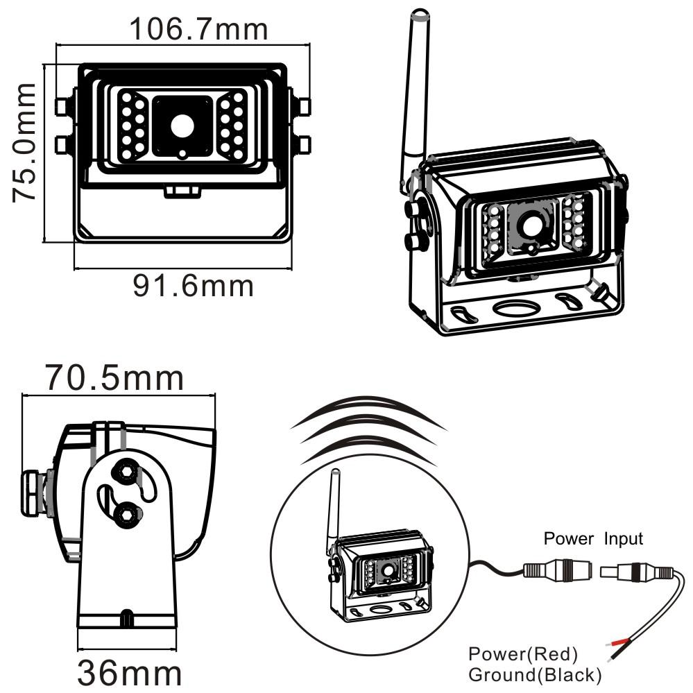 2.4G Digital Wireless Waterproof Camera Dimensions