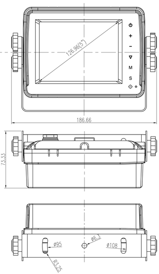 Waterproof 5inch Monitor Dimensions