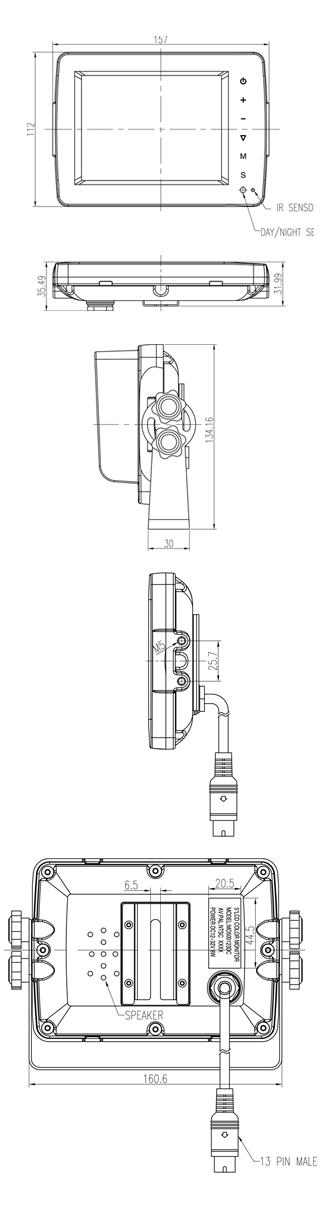 5inch Waterproof Monitor Dimensions