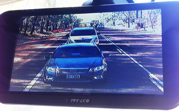 Customers rear-vision monitor view of a 30 degree camera