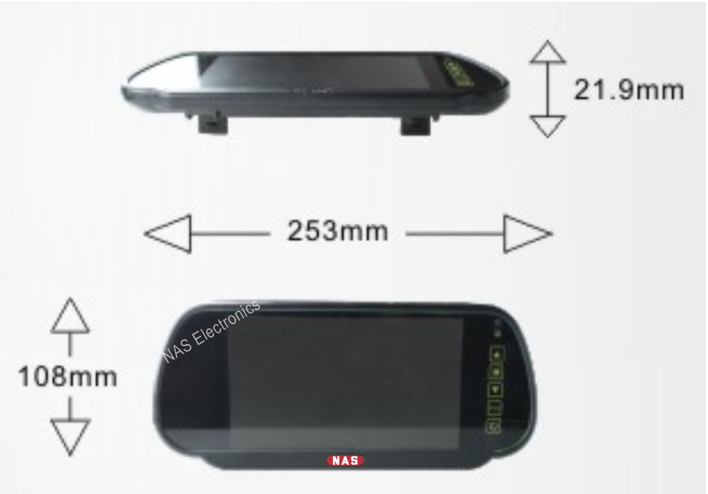 7inch mirror monitor dimensions