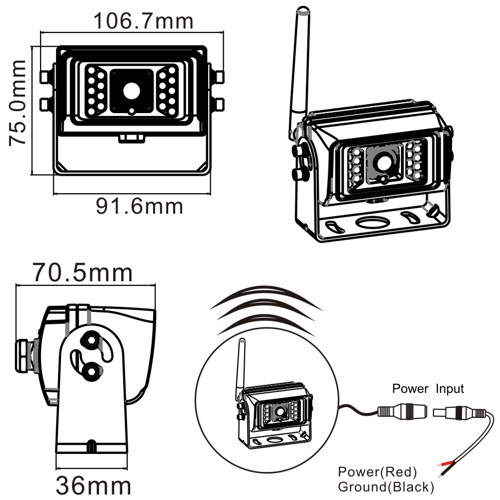 2.4G Digital Wireless Waterproof Camera Dimensions