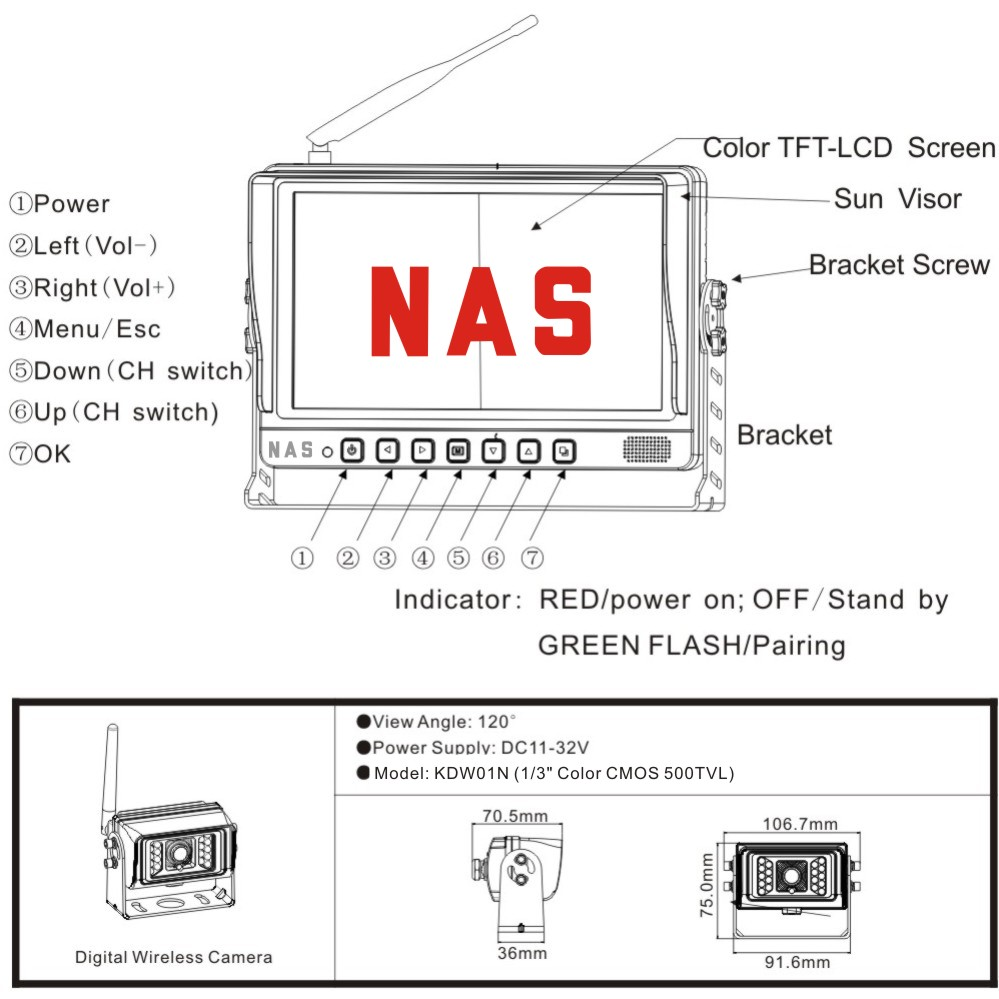 9inch 2.4G Digital Wireless Monitor