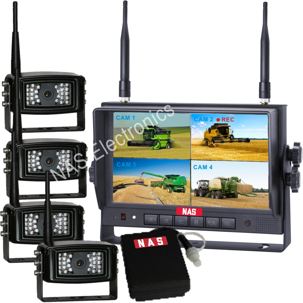 7inch Digital Wireless Quad Monitor Camera Kit With Mobile Power