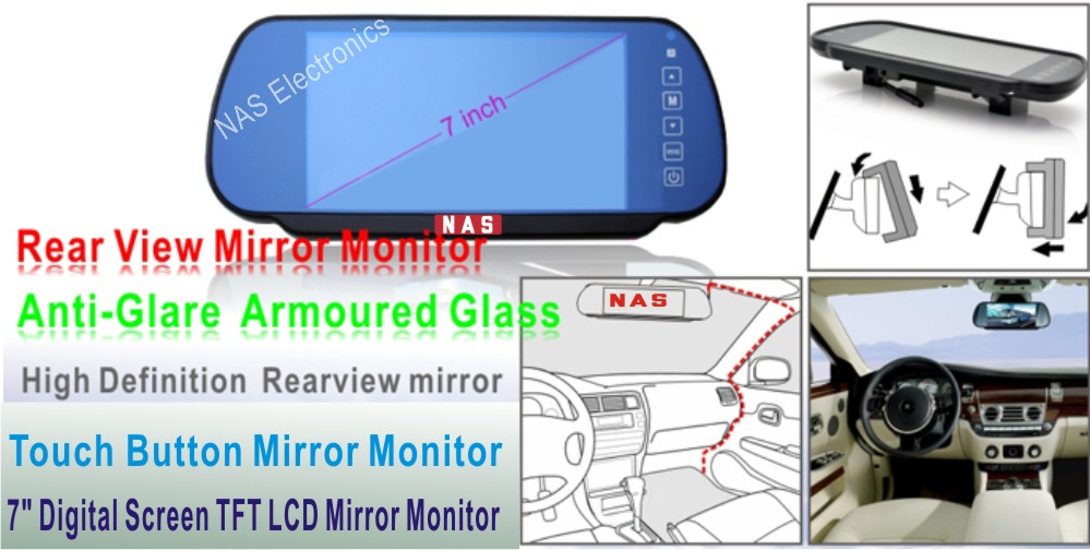 7inch Mirror Monitor With Touch Button