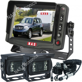 "Caravan Reversing Camera 5"" Monitor 2 CCD Backup Cameras & Curly Cable"
