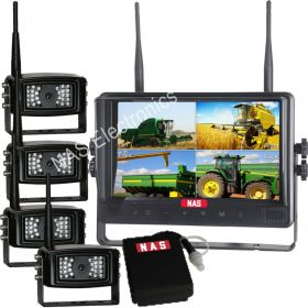 Digital Wireless 9inch Quad DVR Monitor Backup Camera Kit With DC12V Mobile Power