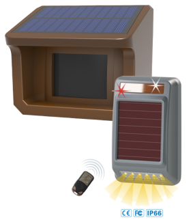 NAS Entrance Driveway Alert All Solar: Out Door Solar Siren Strobe & Solar Sensor (DW-NOSSSB800M)