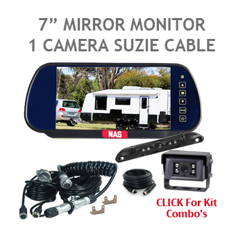 Rear Vision Mirror Backup Camera Monitor with Suzie Cable for Caravan